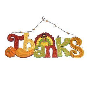 Thanks Sign Plaque Wood Turkey Thanksgiving
